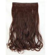 "Fashion Hairpiece Curly Medium Brown 17""(43cm) 3/4 Full Head One Piece 5clips Clip in Hair Extensions Long Poplar Style for Xmas Gifts"
