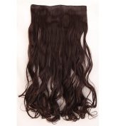"Fashion Hairpiece Curly Dark Brown 17""(43cm) 3/4 Full Head One Piece 5clips Clip in Hair Extensions Long Poplar Style for Xmas Gifts"
