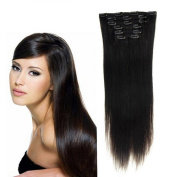 Futuretrend@38cm Inch Clip in on Human Hair Extensions_7pcs Natural Black_1b_remy Human Hair Full Head Straight_70g Weight