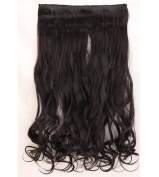 "Fashion Hairpiece Curly Natural Black 17""(43cm) 3/4 Full Head One Piece 5clips Clip in Hair Extensions Long Poplar Style for Xmas Gifts"