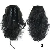 Beauty Wig World 34cm 105g Medium Length Deep Curly Synthetic Hair Piece Claw Clip in/on Ponytail #2 Black