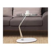 Monarch Metal Accent Table/Tempered Glass, Chrome/Glossy White