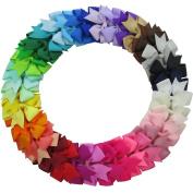QingHan® 40Pcs Grosgrain Ribbon Pinwheel Boutique Hair Bows Alligator Clips