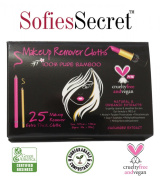 SofiesSecret Makeup Remover Facial Pads 100% Natural & Organic Extracts Travel Pack 25 Count Made From 100% Pure Bamboo, Extra Thick, Organic, Biodegradable, Cruelty Free & Vegan