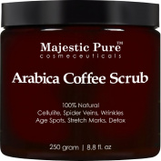 Arabica Coffee Scrub From Majestic Pure Helps Reduce Cellulite, Wrinkles, Stretch Marks, Spider Veins, Acne & Age Spots, 100% Natural Treatment & Care, Skin Detox, 260ml. Today!