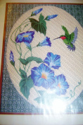 Something Special Needlepoint Kit Morning Glories and Hummingbird Picture 18 X 22