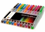 Glitter Gel Pens from Colour Technik Set of 12 Professional Artist Quality Pens. Best Gel Pen Colours with Comfort Grip. Enhance Your Adult Colouring Book Experience Now! Perfect Gift Idea!