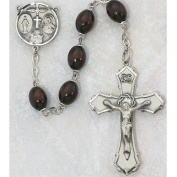 Brown Wood Oval Rosary