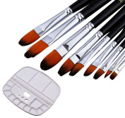 CraftsActive Professional Artist Paint Brushes- 9 Pcs Brushes Perfect for Watercolour, Acrylics, Oil Paint, Gouache with . Paint Palette Included
