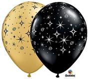 28cm Black & Gold Sparkles Latex Balloons - Set of 6