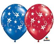 28cm Stars Red & Blue Latex Balloons - Set of 6