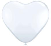 28cm White Latex Heart Balloons - Pkg of 6