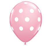 28cm Light Pink & White Polka Dot Latex Balloon - Set of 6