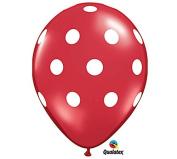 28cm Red & White Polka Dot Latex Balloon - Set of 6