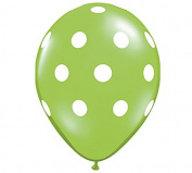 28cm Lime & White Polka Dot Latex Balloon - Set of 6