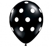 28cm Black & White Polka Dot Latex Balloon - Set of 6