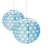 Light Blue Polka Dot Paper Lantern - 30cm - Set of 2