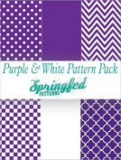 PURPLE & WHITE PATTERN PACK of Craft Vinyl Pack Scrapbook Supplies