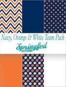 NAVY BLUE, ORANGE & WHITE TEAM THEME PACK #1 Pack of Craft Vinyl Team Inspired Pattern Craft Vinyl Pack