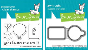 Lawn Fawn Turn Me On Clear Stamp and Die Set - Includes One Each of LF1020 Stamp & LF1021 Die - Bundle Of 2