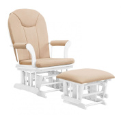 Shermag Combo Glider Chair and Ottoman, White-Beige