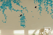 Pop Decors PT-0178-Vf Beautiful Wall Decal, Elegant Leaves/Bird Cage with Flying Birds