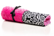 Elonka Nichole Baby Girl Black Original Mimi Receiving Blanket, Damask, Black/White/Hot Pink