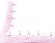 Knitted Crochet Finished White Cotton Pink Trim Blanket Trimmed Pink Rosebuds