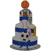 Sports Theme Baby Boy Nappy Cake (3 Tier) Large - Baby Shower Centrepiece/ New Baby Gift/ Welcome Baby Gift