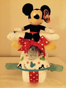 Mickey Mouse Motorcycle Nappy Cake with Plush Toy/ Mickey Mouse Nappy Cake