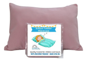TODDLER PILLOWCASE Pink Cover - Fits 13.5 X 19.5 to 36cm X 50cm Toddler or Travel Pillow - 100% Luxury Microfiber - Hand Made in the USA - 100% SATISFACTION GUARANTEE