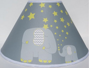 Yellow Elephant Lamp Shades / Elephant Nursery Decor with Stars and Moon