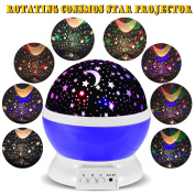 3 Modes Rotating Star Light Projector, Hallomall 4LED Romantic Night Lamp Projection, Cosmos Star Sky Moon Lamp Projector for Kids Baby Bedroom, Christmas Gifts