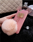 Jesiya Iphone 6/6s/6 plus/6s plus Case Fur TPU,Cute 3D Handmade Diamond ears Handcraft With Metal Ring Metal Buckle Pendant Fur Plush Ball Clear Cover case for Iphone 6/6s 12cm /6 plus/6s plus 14cm