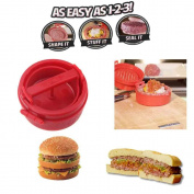 Constructan(TM) Kitchen Accessories Red Cooking Tools Stuffed Hamburger Burger Press Mould Plastic Novelty Compact