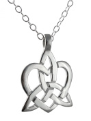 Celtic Trinity Knot Heart Pendant Necklace, 925 Sterling Silver, 46cm