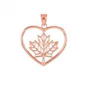 14k Rose Gold Filigree Canadian Maple Leaf Open Heart Charm Pendant