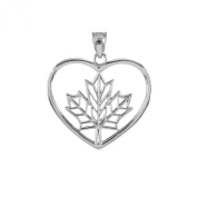 14k White Gold Filigree Canadian Maple Leaf Open Heart Charm Pendant