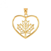 10k Yellow Gold Filigree Canadian Maple Leaf Open Heart Charm Pendant