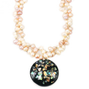 Multi-Colour Freshwater Pearl & Large Shell Pendant Necklace 46cm N15040856d