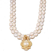Freshwater Pearl & Large Pendant Necklace with Gold Tone Toggle 47cm N15081718d
