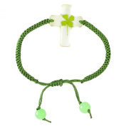 Genuine Four-leaf Lucky Clover Crystal Amber Clear Cross Bracelet, Adjustable Green Rope with Jade.
