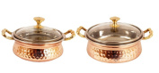 IndianArtVilla Handmade Steel Copper Casserole Dish Serving Food Daal Curry S...