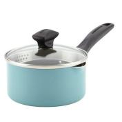 Farberware Dishwasher Safe Nonstick Aluminium Covered Straining Saucepan with Pour Spouts, 0.9l, Aqua
