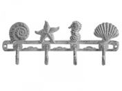 Vintage Seashell Coat Hook Hanger by Comfify | Rustic Cast Iron Wall Hanger w/ 4 Decorative Hooks | Includes Screws and Anchors | in Antique White |