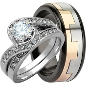 3 Pieces Men's and Women's, His & Hers, 925 Genuine Solid Sterling Silver & Two Tone Stainless Steel Spinner Band Engagement Matching Wedding Ring Set