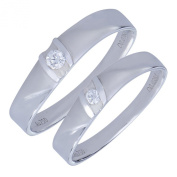Dazzling 18K Brushed White Gold G SI .12 (cttw) Diamond Wedding Engagement Band Promise Jewellery Valentines Matching Ring Set