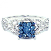 Blue And White Diamond Engagement Ring 14K White Gold 0.7CTTW Square Shaped Top