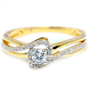 Diamond Engagement Promise Ring 10K Gold 7mm Wide Round Solitaire Centre