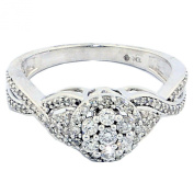 Diamond Bridal Engagement Ring 10K White Gold Halo Cluster 8mm Wide